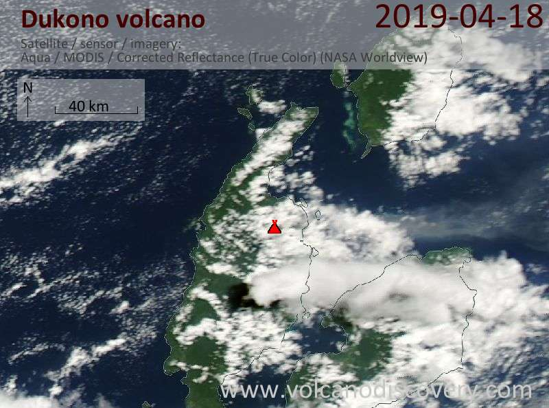 Satellitenbild des Dukono Vulkans am 18 Apr 2019