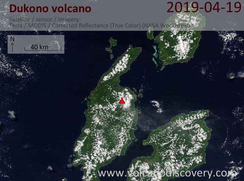 Satellite image of Dukono volcano on 19 Apr 2019