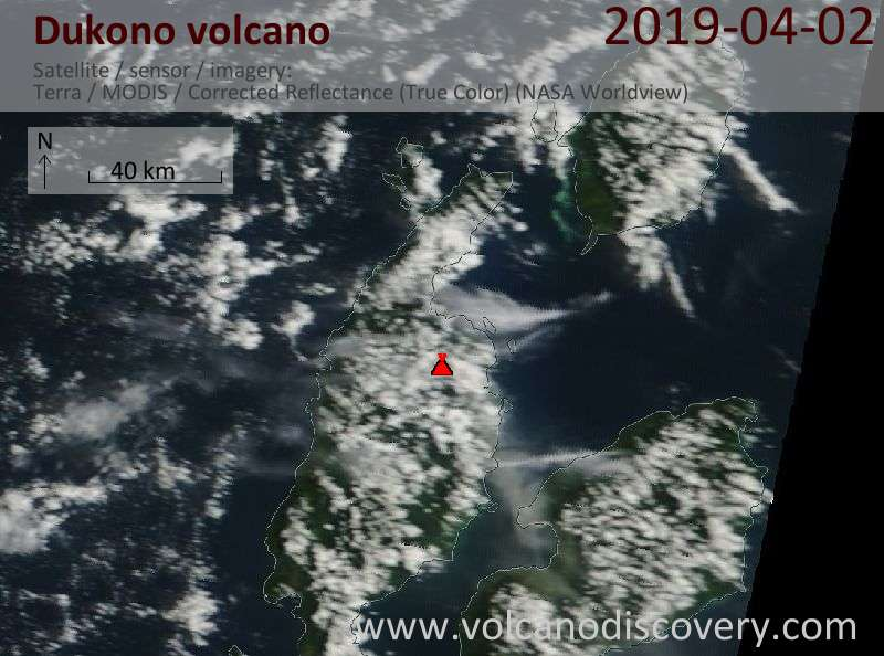 Спутниковое изображение вулкана Dukono  2 Apr 2019