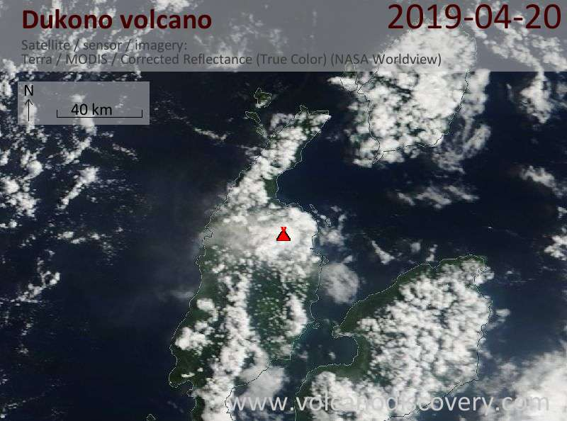 Satellite image of Dukono volcano on 20 Apr 2019