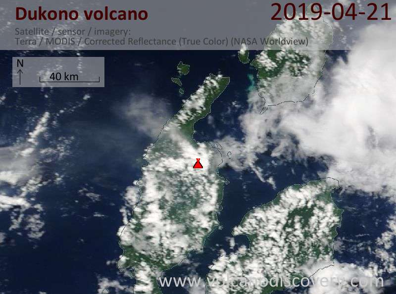 Satellite image of Dukono volcano on 21 Apr 2019