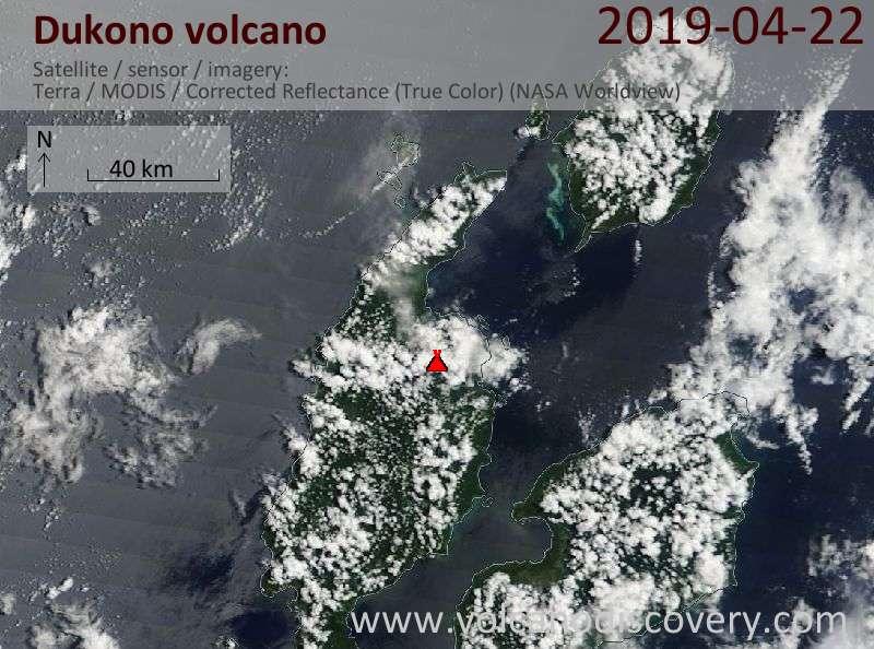 Satellite image of Dukono volcano on 22 Apr 2019
