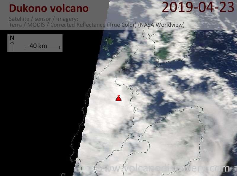 Satellite image of Dukono volcano on 23 Apr 2019
