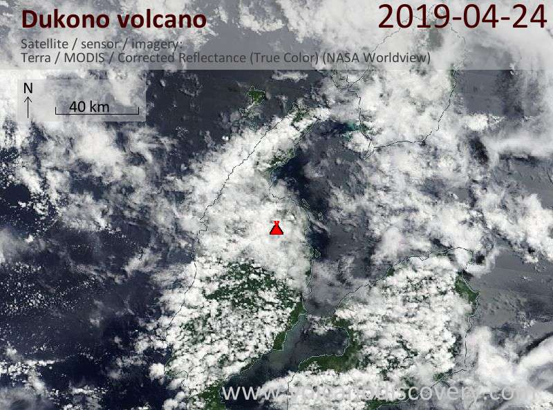 Satellite image of Dukono volcano on 24 Apr 2019
