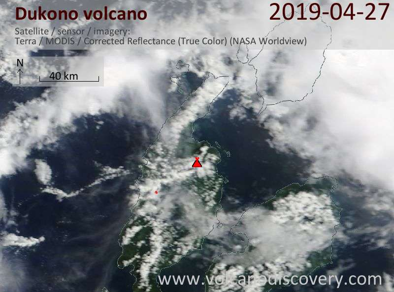 Satellitenbild des Dukono Vulkans am 27 Apr 2019