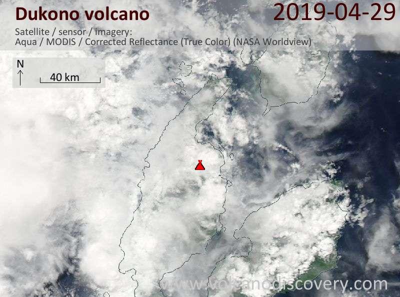 Satellite image of Dukono volcano on 29 Apr 2019