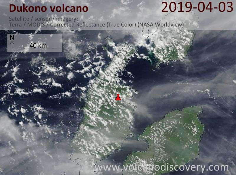 Спутниковое изображение вулкана Dukono  3 Apr 2019