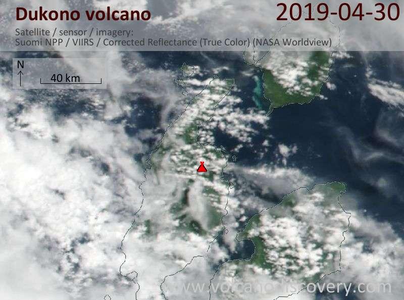 Satellite image of Dukono volcano on 30 Apr 2019