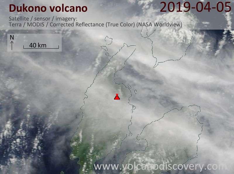 Спутниковое изображение вулкана Dukono  5 Apr 2019