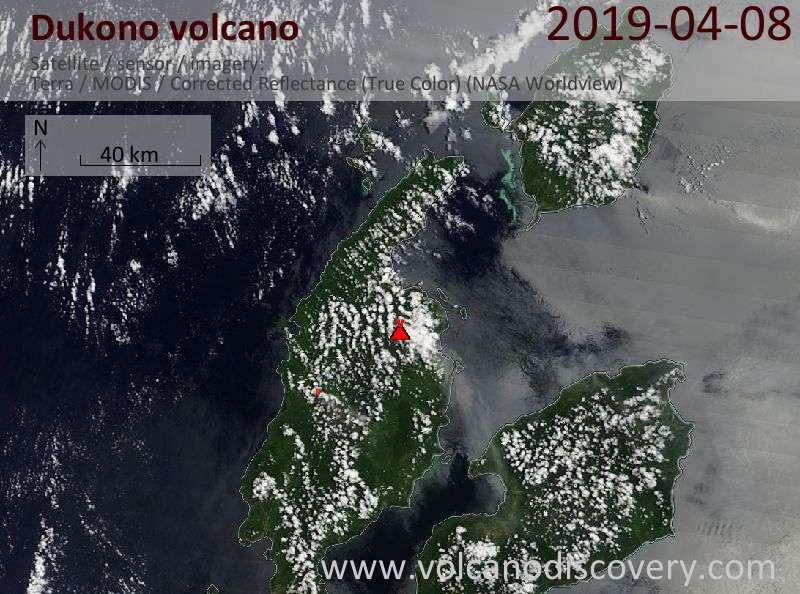 Satellite image of Dukono volcano on  8 Apr 2019