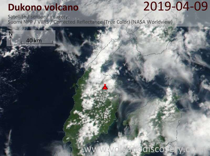 Satellite image of Dukono volcano on  9 Apr 2019