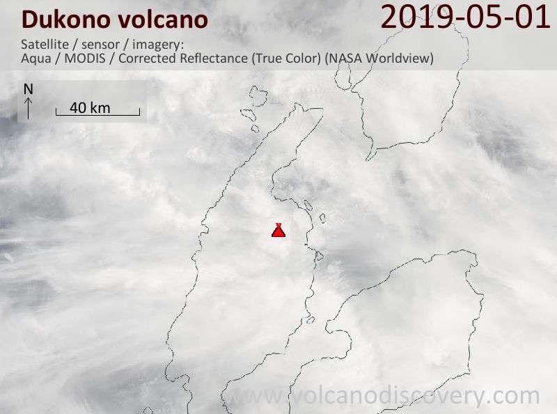 Satellite image of Dukono volcano on  1 May 2019