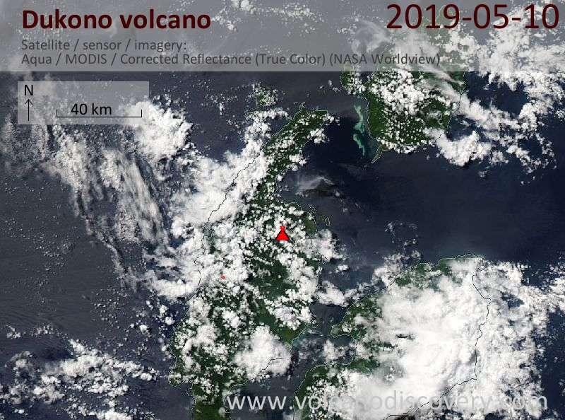 Satellite image of Dukono volcano on 10 May 2019