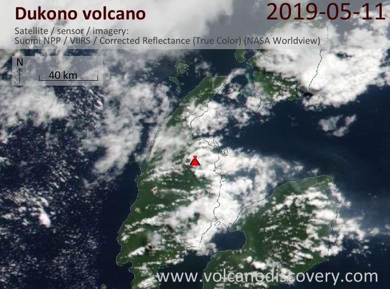 Satellite image of Dukono volcano on 11 May 2019