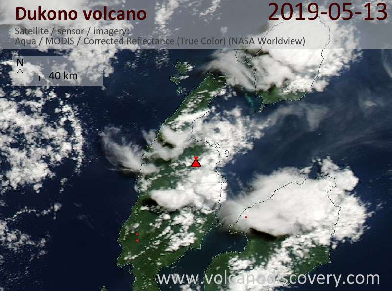 Satellite image of Dukono volcano on 13 May 2019