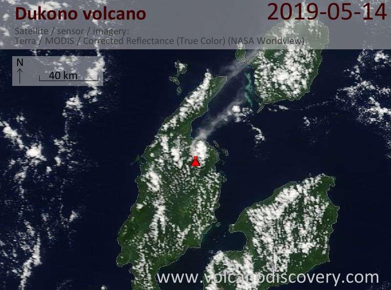 Satellite image of Dukono volcano on 14 May 2019