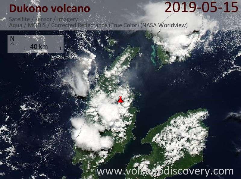 Satellite image of Dukono volcano on 15 May 2019