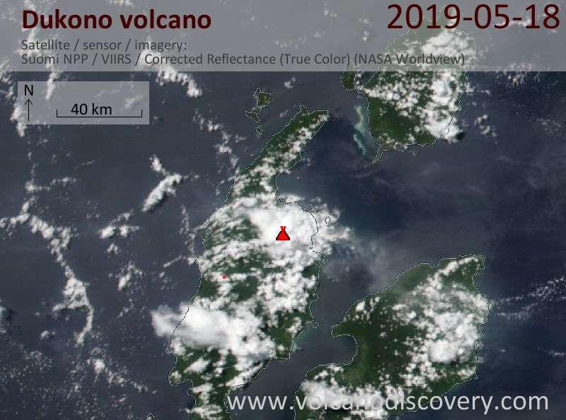 Satellite image of Dukono volcano on 18 May 2019
