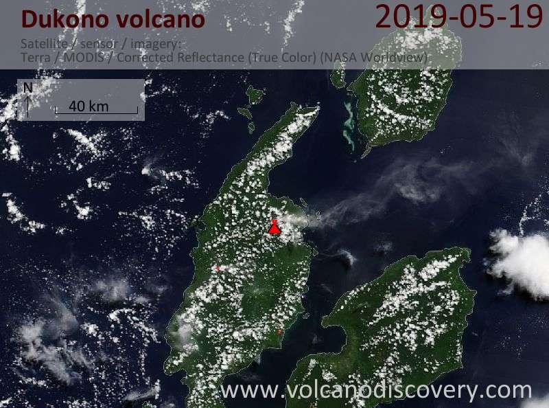 Satellite image of Dukono volcano on 19 May 2019