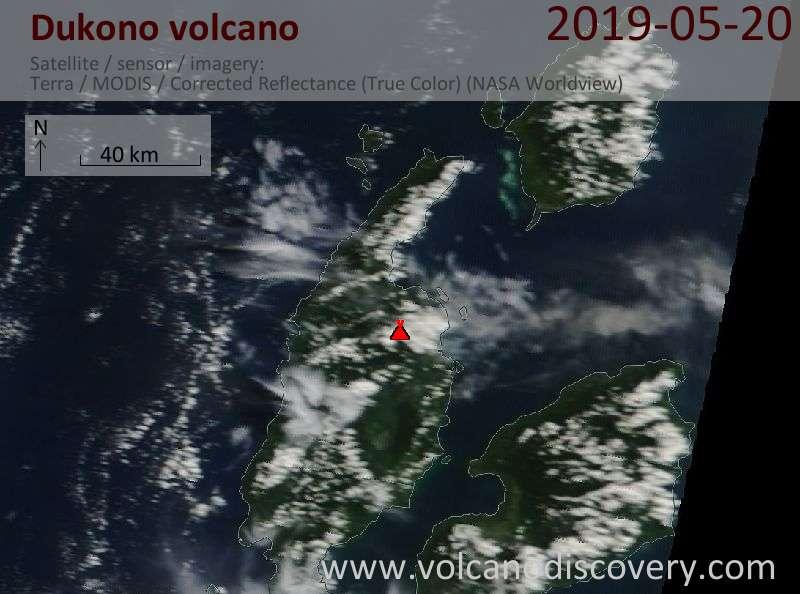 Satellite image of Dukono volcano on 20 May 2019