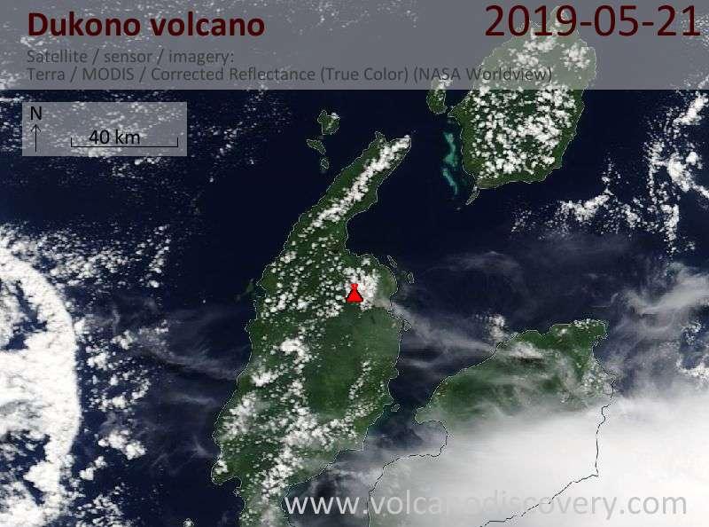 Satellite image of Dukono volcano on 21 May 2019