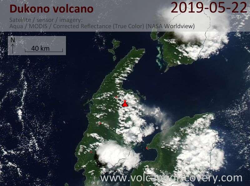 Satellite image of Dukono volcano on 22 May 2019