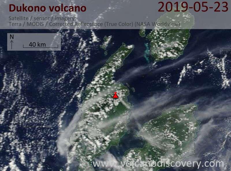 Satellitenbild des Dukono Vulkans am 23 May 2019