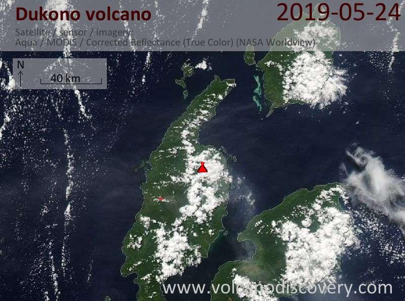 Satellite image of Dukono volcano on 24 May 2019