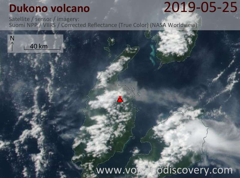 Satellite image of Dukono volcano on 25 May 2019