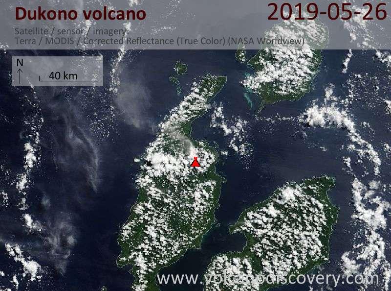 Satellitenbild des Dukono Vulkans am 26 May 2019