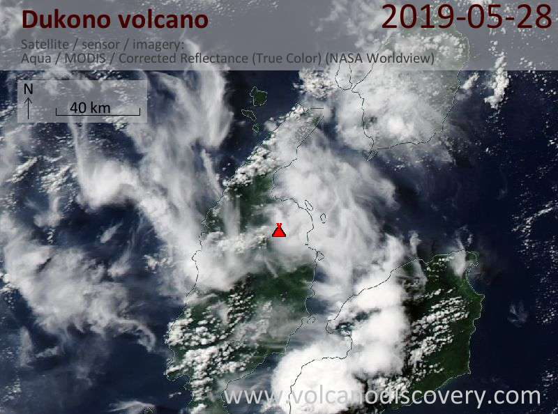Satellite image of Dukono volcano on 28 May 2019