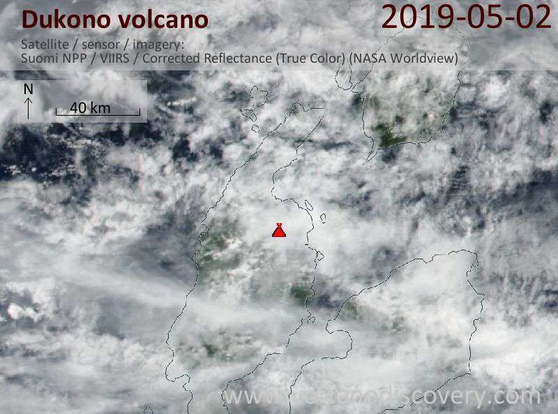 Satellite image of Dukono volcano on  3 May 2019