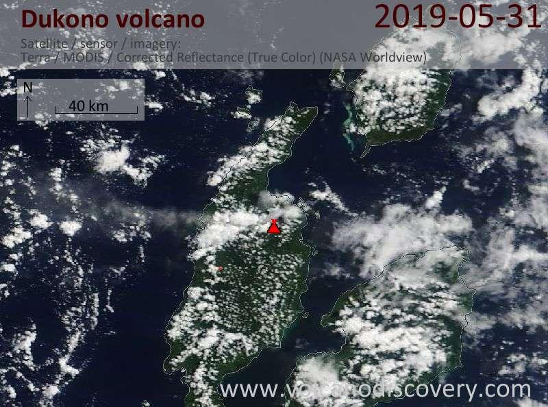 Satellite image of Dukono volcano on 31 May 2019