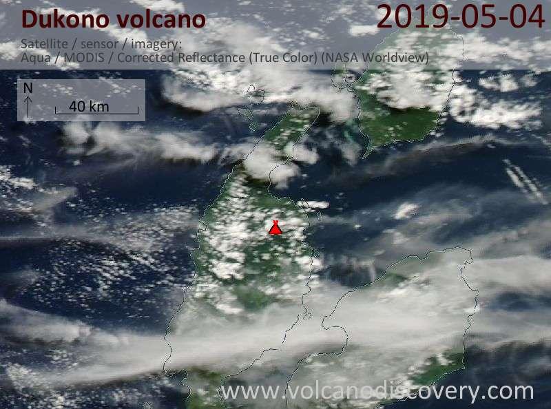 Satellitenbild des Dukono Vulkans am  4 May 2019