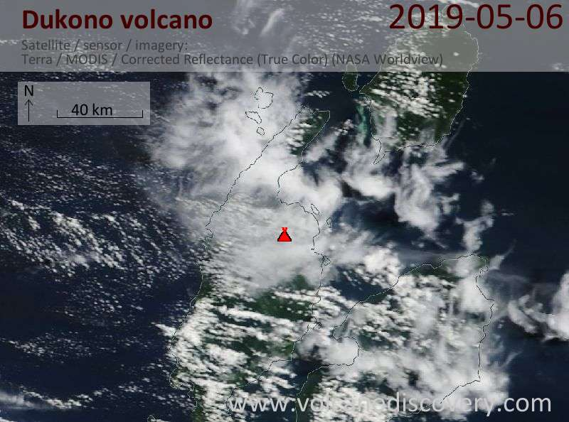Satellite image of Dukono volcano on  6 May 2019