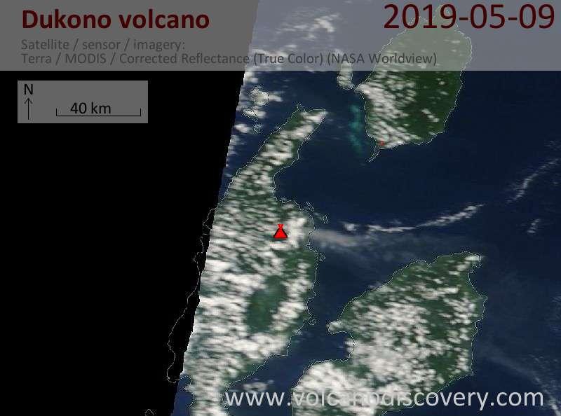 Satellite image of Dukono volcano on  9 May 2019