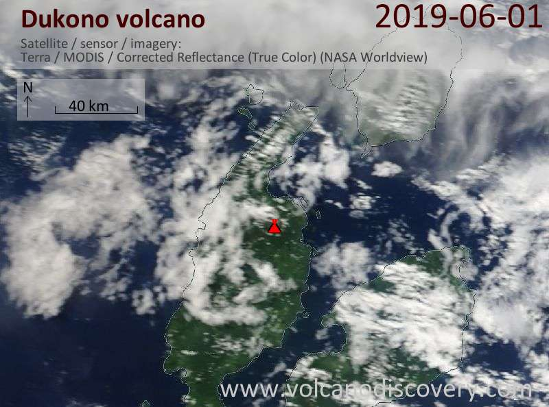 Satellite image of Dukono volcano on  1 Jun 2019