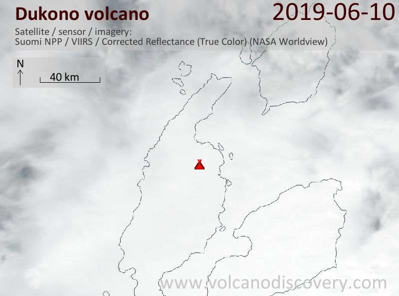 Satellite image of Dukono volcano on 10 Jun 2019