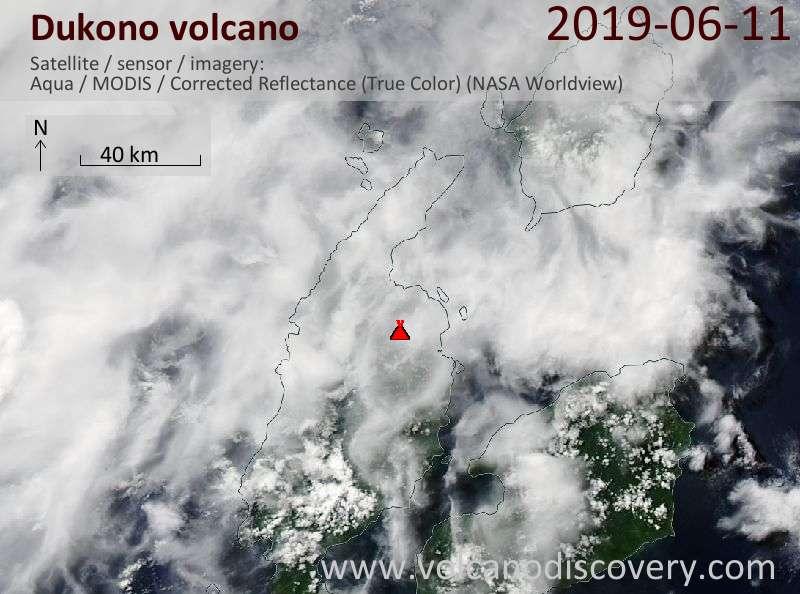Спутниковое изображение вулкана Dukono 11 Jun 2019