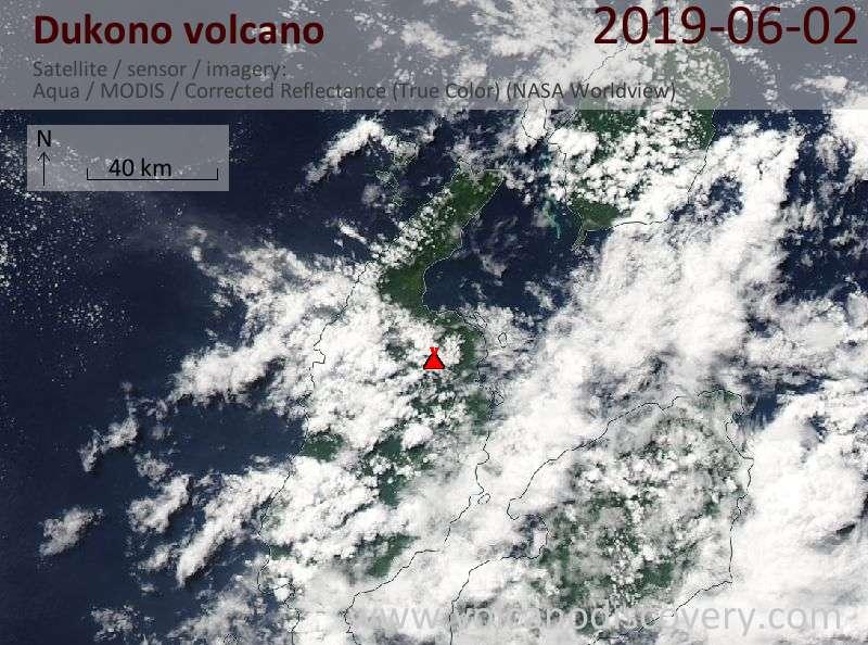 Satellite image of Dukono volcano on  2 Jun 2019