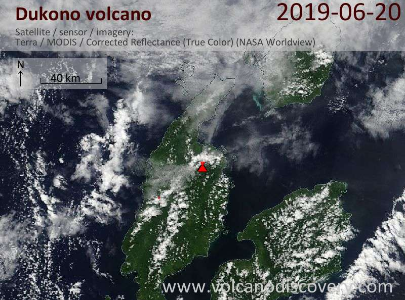 Satellitenbild des Dukono Vulkans am 20 Jun 2019