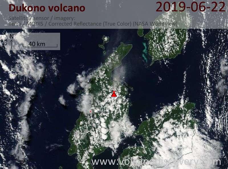 Satellite image of Dukono volcano on 22 Jun 2019