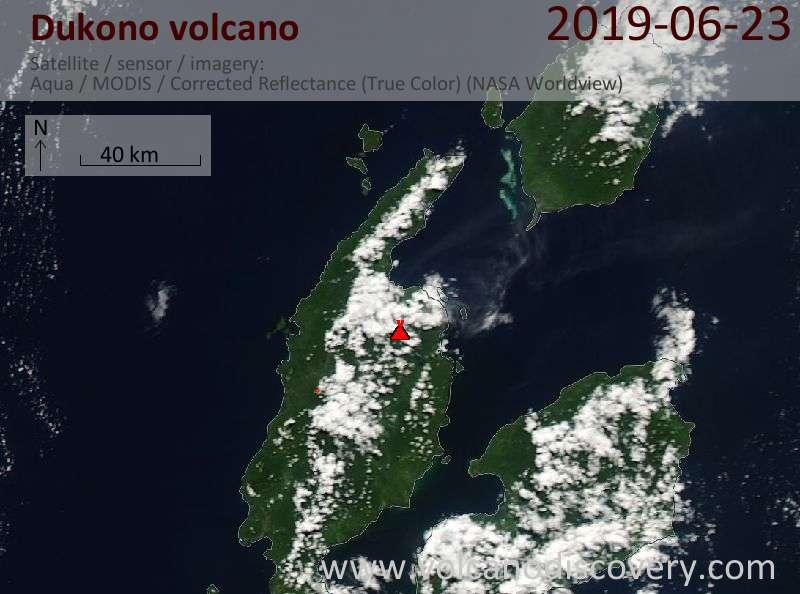 Satellite image of Dukono volcano on 23 Jun 2019