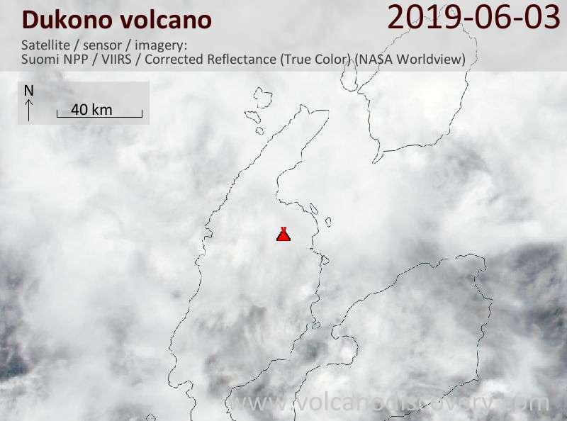 Satellite image of Dukono volcano on  3 Jun 2019