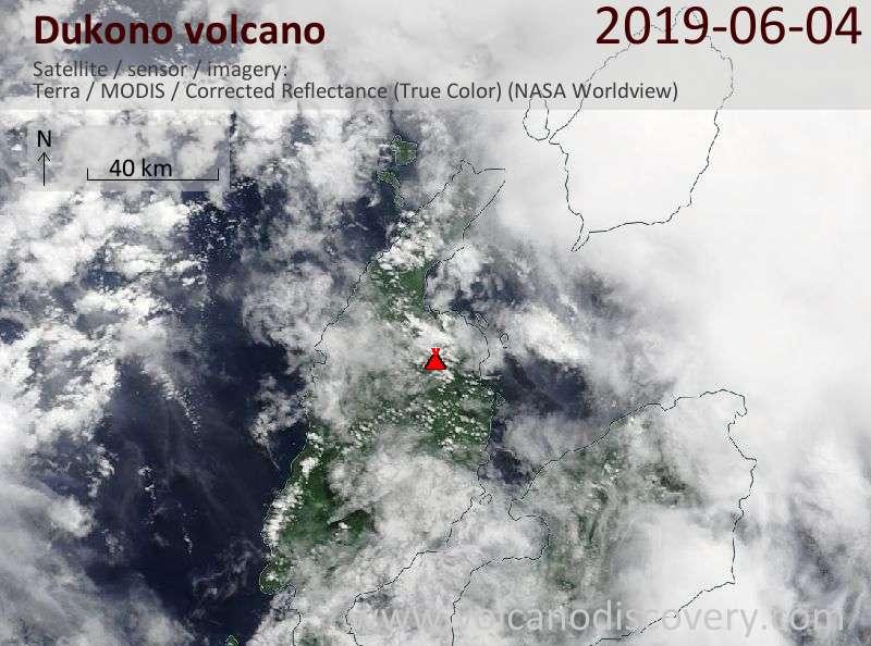 Satellite image of Dukono volcano on  4 Jun 2019