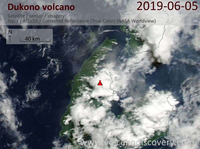 Satellite image of Dukono volcano on  5 Jun 2019