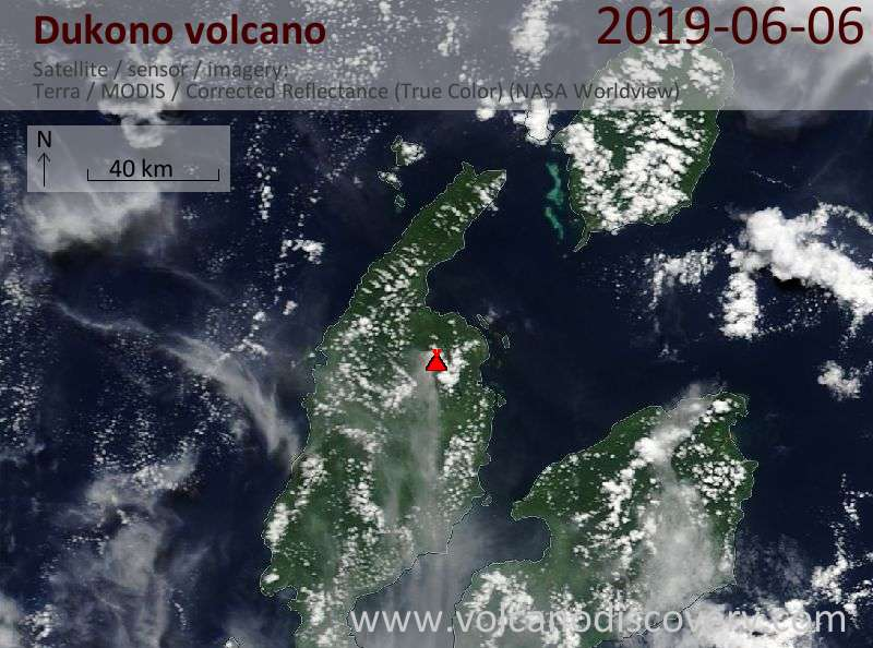 Satellite image of Dukono volcano on  6 Jun 2019