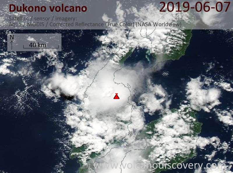 Satellite image of Dukono volcano on  7 Jun 2019