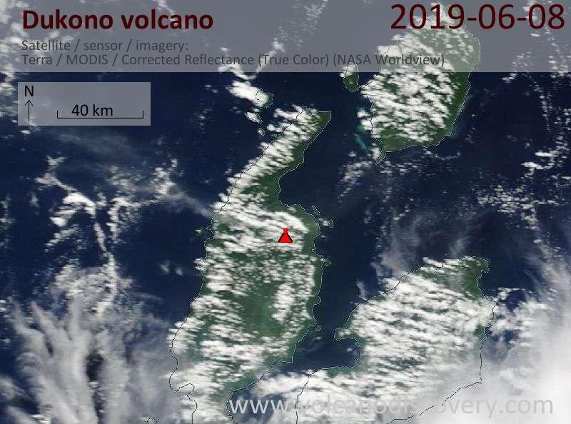 Satellite image of Dukono volcano on  8 Jun 2019