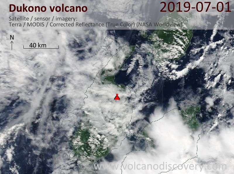 Satellite image of Dukono volcano on  1 Jul 2019